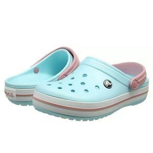 Crocs Crocband Clog Light Ice Blue White Pink Sz11